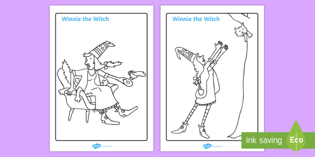 Colouring Sheets to Support Teaching on Winnie The Witch - Winnie, witch, black cat, Wilbur, colouring, fine motor skills, poster, worksheet, vines, A4, display, Valerie thomas, story book, story resource, story