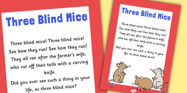 Three Blind Mice Nursery Rhyme Poster - rhymes, poem, display