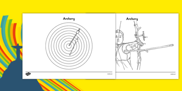 The Olympics Archery Colouring Sheets - Olympics, Olympic Games, sports, Olympic, London, 2012, colouring, fine motor skills, poster, worksheet, vines, A4, display, Olympic torch, flag, countries, medal, Olympic Rings, mascots, flame, compete, archer