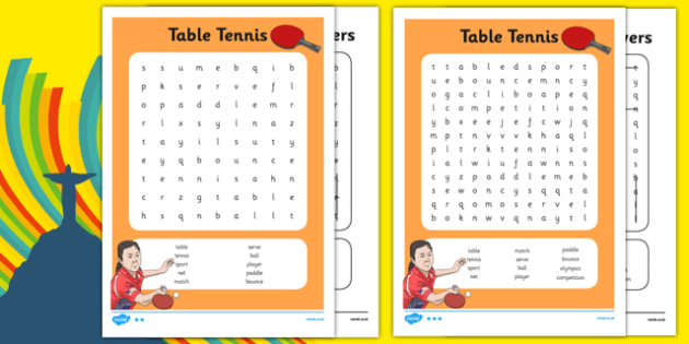 The Olympics Table Tennis Word Search - the olympics, rio olympics, rio 2016, 2016 olympics, table tennis, word search