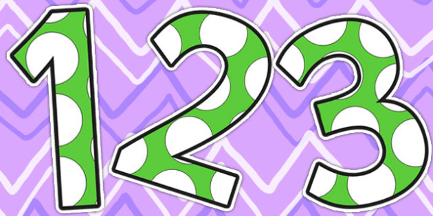 Green and White Spots Small Display Numbers - display numbers, green, white