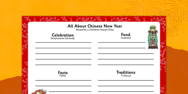 Chinese New Year Writing Frame Polish Translation - polish, chinese new year, writing frame, write, frame