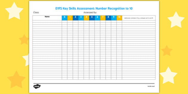 EYFS Key Skills Assessment Number Recognition to 10 - key skills