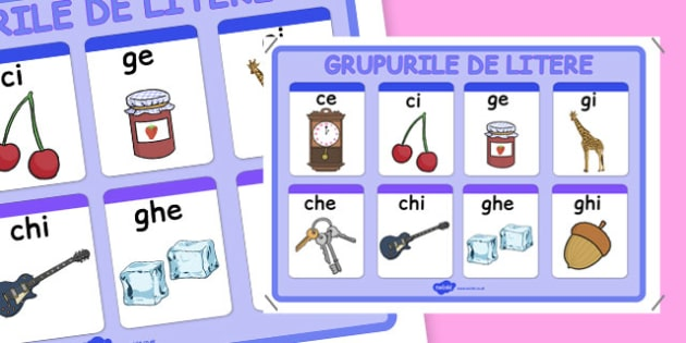 Grupurile de litere, Plansa - ilustrate