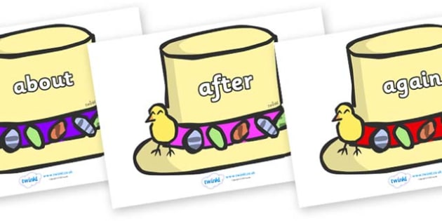 KS1 Keywords on Easter Bonnets - KS1, CLL, Communication language and literacy, Display, Key words, high frequency words, foundation stage literacy, DfES Letters and Sounds, Letters and Sounds, spelling