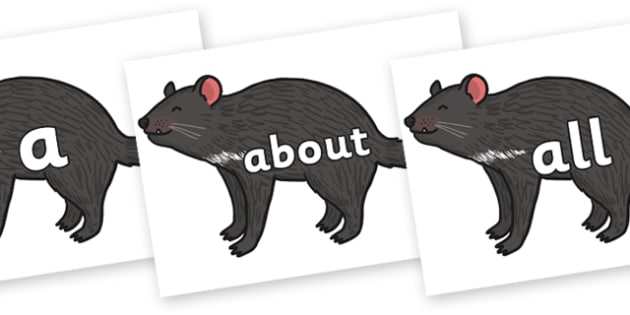 100 High Frequency Words on Tasmanian Devil - High frequency words, hfw, DfES Letters and Sounds, Letters and Sounds, display words