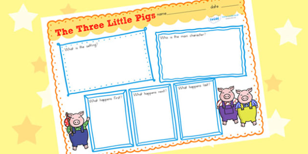 The Three Little Pigs Story Review Writing Frames - story review