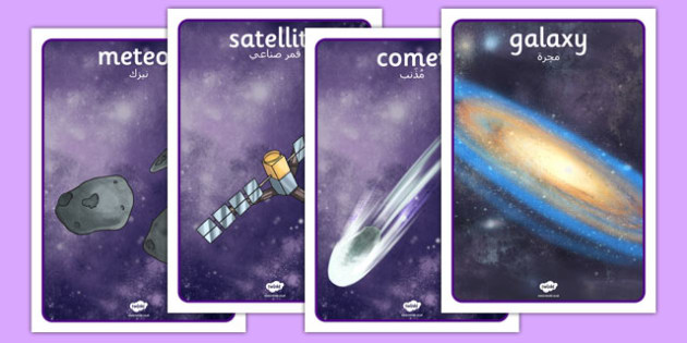 Space Display Posters Detailed Images Arabic Translation - arabic, planets, space display