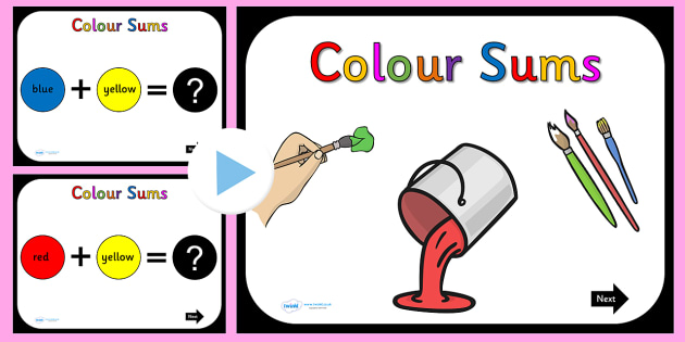 Colour Mixing Sums PowerPoint - colours, numeracy, maths, mix