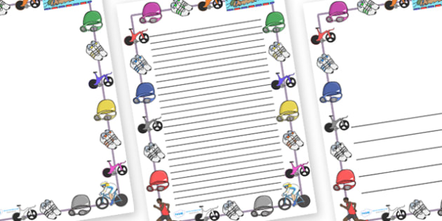 The Olympics Triathlon Page Borders - Triathlon, Olympics, Olympic Games, sports, Olympic, London, 2012, page border, border, writing template, writing aid, writing, activity, Olympic torch, events, flag, countries, medal, Olympic Rings, mascots, fla