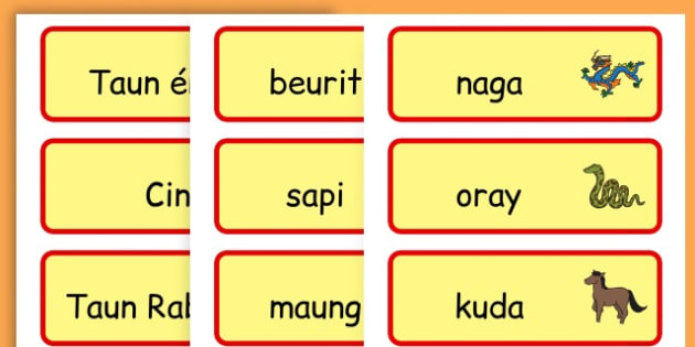 Chinese New Year Topic Word Cards - chinese new year, word cards - Sudanese