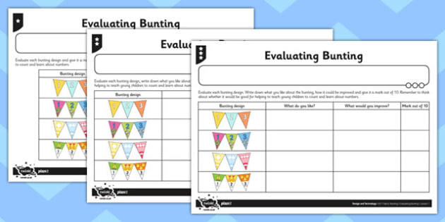 D&T Evaluating Bunting Activity Sheet - activity sheet, evaluating, worksheet