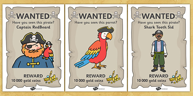 Pirate Wanted Display Posters - Pirate, Pirates, Wanted, bounty, Flag, pirate display, Display, Posters, Freize, play, pirate, pirates, treasure, ship, jolly roger, ship, island, ocean
