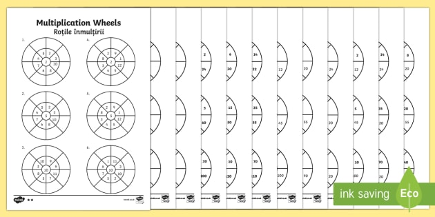 Mixed 2, 5 and 10 Times Table Multiplication Wheels Activity Sheet Pack English/Romanian - Mixed 2, 5 and 10 Times Table Multiplication Wheels Activity Sheet Pack - mixed, 2, 5, 10, times tab