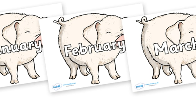 Months of the Year on Wilbur - Months of the Year, Months poster, Months display, display, poster, frieze, Months, month, January, February, March, April, May, June, July, August, September