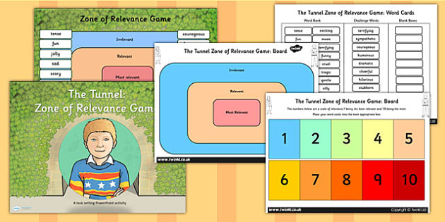 Zone of Relevance Game Differentiated Lesson Teaching Pack to Support Teaching on The Tunnel by Anthony Browne