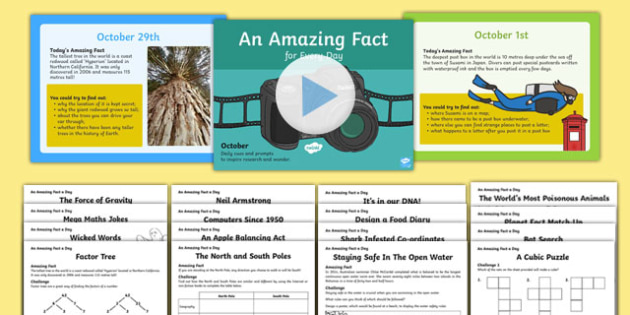 October Amazing Fact A Day Powerpoint and Sheets Activity Pack