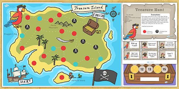 Pirate Treasure Hunt Board Game - pirates, pirate board game, board game, pirate treasure hunt game, pirate game, treasure board game, treasure hunt game