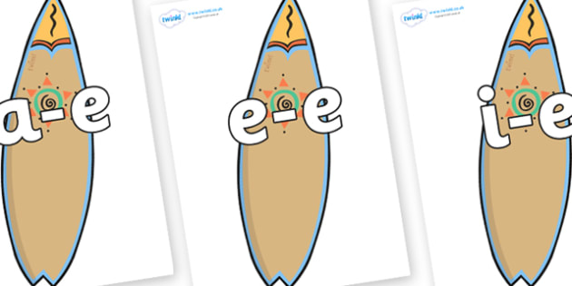 Modifying E Letters on Surf Boards - Modifying E, letters, modify, Phase 5, Phase five, alternative spellings for phonemes, DfES letters and Sounds