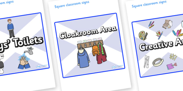 Scotland Themed Editable Square Classroom Area Signs (Plain) - Themed Classroom Area Signs, KS1, Banner, Foundation Stage Area Signs, Classroom labels, Area labels, Area Signs, Classroom Areas, Poster, Display, Areas