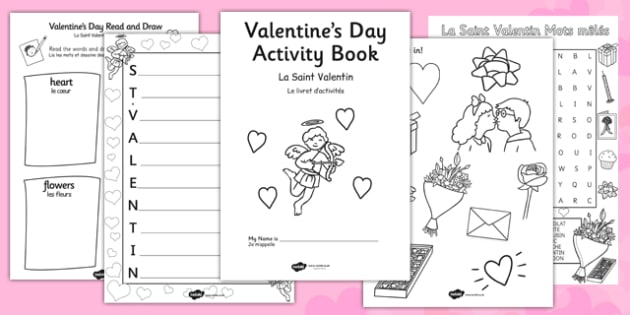 Valentine's Day Themed Activity Book French Translation - french, valentines, day, activity