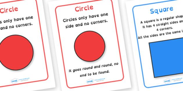 2D Shape Information Posters Dyslexia - 2d shape description posters, shape description posters in dyslexia font, shape dyslexia posters, sen maths, shape