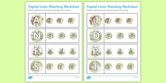 Beatrix Potter - The Tale of Mr Jeremy Fisher Themed Capital Letter Matching Worksheet - beatrix potter, jeremy fisher