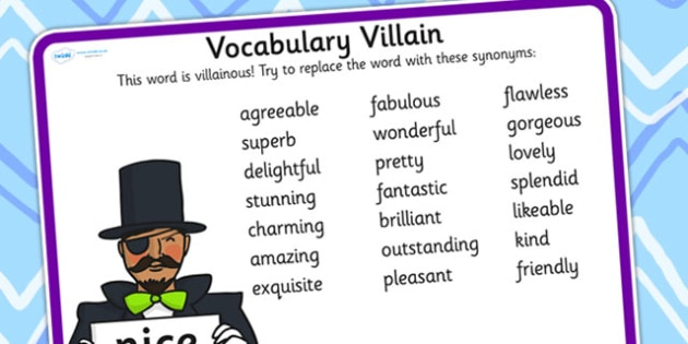 Vocabulary Villain Nice Word Mat - nice, word mat, topic words, key words, word list, keyword, words, key word mat, themed word mat, themed word list