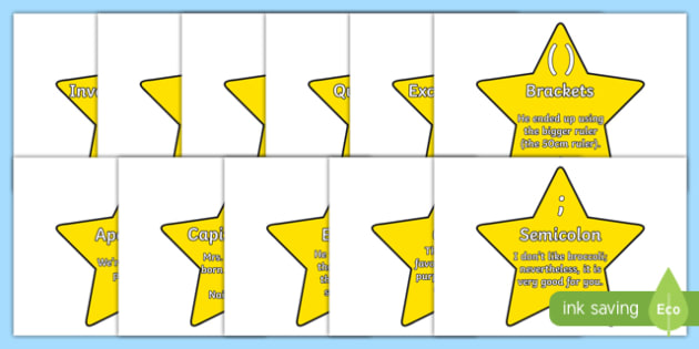 Punctuation on Stars - punctuation, stars, display, signs, posters, writing