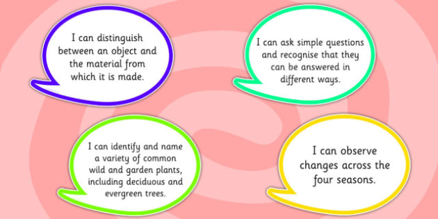 2014 Curriculum Year 1 Science Assessment I Can Speech Bubbles
