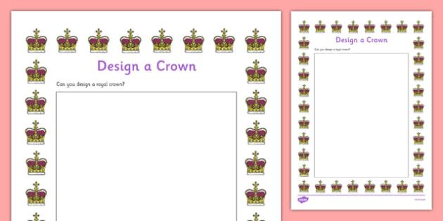 Design a Crown Activity Sheet, worksheet
