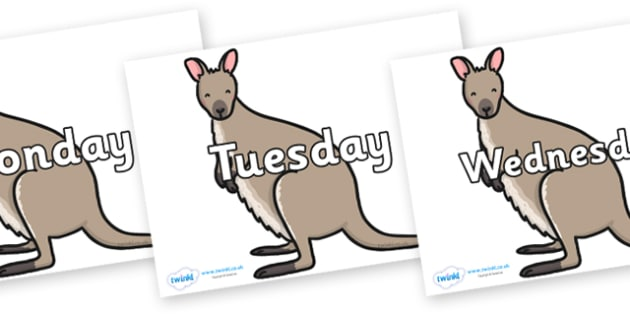 Days of the Week on Wallaby - Days of the Week, Weeks poster, week, display, poster, frieze, Days, Day, Monday, Tuesday, Wednesday, Thursday, Friday, Saturday, Sunday