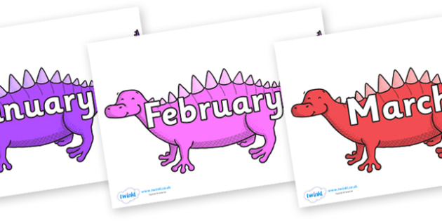 Months of the Year on Scelidosaurus - Months of the Year, Months poster, Months display, display, poster, frieze, Months, month, January, February, March, April, May, June, July, August, September