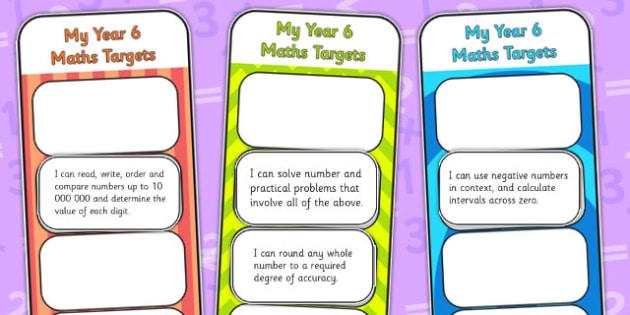 2014 Curriculum Year 6 Maths Target Bookmarks - numeracy, ks2
