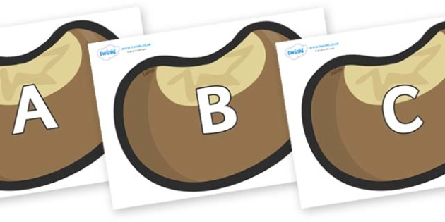 A-Z Alphabet on Conkers - A-Z, A4, display, Alphabet frieze, Display letters, Letter posters, A-Z letters, Alphabet flashcards