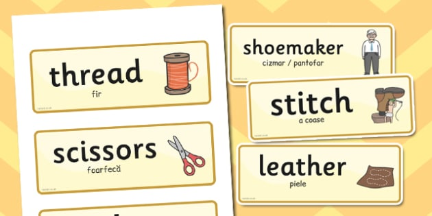 The Elves and the Shoemaker Word Cards Romanian Translation