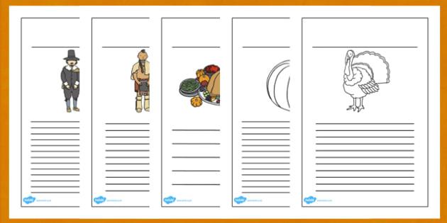 Thanksgiving Themed Writing Frames - Thanksgiving, writing frames