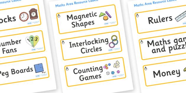 Penguin Themed Editable Maths Area Resource Labels - Themed maths resource labels, maths area resources, Label template, Resource Label, Name Labels, Editable Labels, Drawer Labels, KS1 Labels, Foundation Labels, Foundation Stage Labels, Teaching Lab
