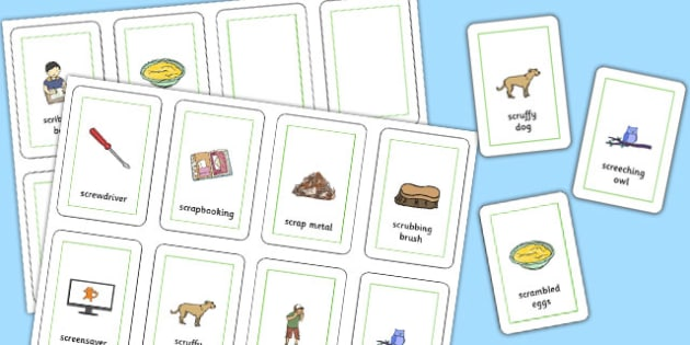 Three Syllable SCR Flash Cards - speech sounds, phonology, articulation, speech therapy, cluster reduction, complex clusters, three element clusters