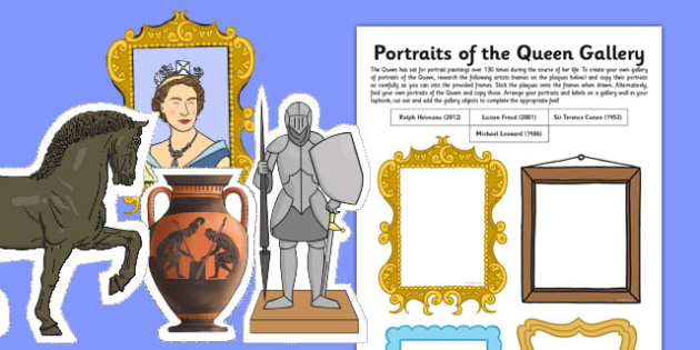 Portraits of the Queen Gallery Cutting and Drawing Activity