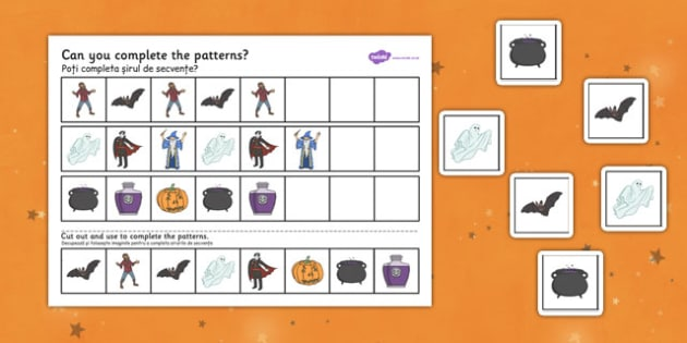 Halloween Complete the Pattern Worksheet Romanian Translation - romanian, halloween, hallowe'en