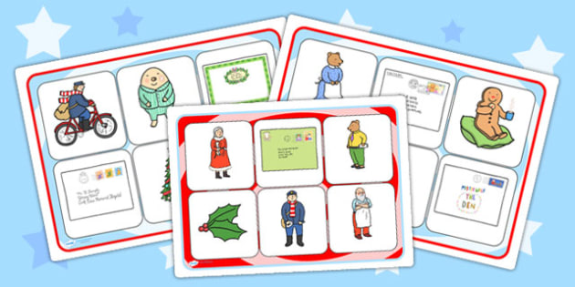 The Jolly Christmas Postman Matching Cards and Boards - the jolly christmas postman, matching cards, matching cards and board, cards and boards, christmas