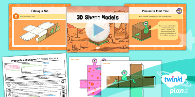PlanIt Y3 Properties of Shape Lesson Pack Shapes (3) - PlanIt, Properties of Shapes, 3D shapes, geometry, shape models, nets
