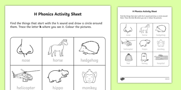 h Phonics Activity Sheet-Irish, worksheet