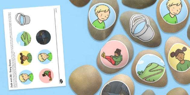 Jack and Jill Story Stones Image Cut Outs - Story stones, stone art, painted rocks, Nursery Rhymes, song