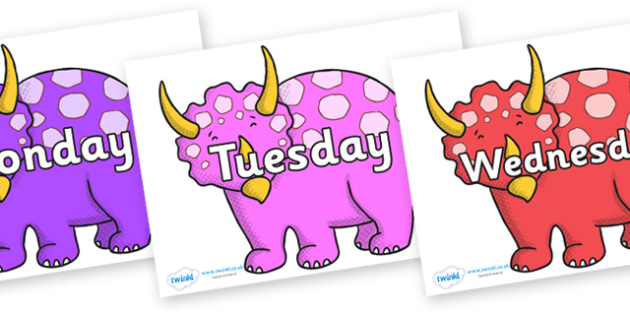 Days of the Week on Triceratops - Days of the Week, Weeks poster, week, display, poster, frieze, Days, Day, Monday, Tuesday, Wednesday, Thursday, Friday, Saturday, Sunday