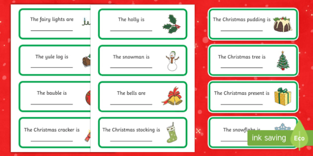Christmas Themed Fill in the  Adjective Word Cards