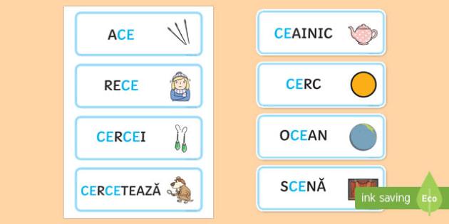 Grupul de litere ce Cartonașe cu cuvinte ilustrate