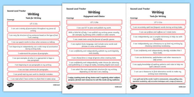 CfE Literacy and English (Writing) Second Level Child Friendly Tracking-Scottish