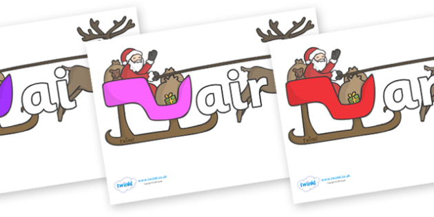 Phase 3 Phonemes on Sleighs - Phonemes, phoneme, Phase 3, Phase three, Foundation, Literacy, Letters and Sounds, DfES, display